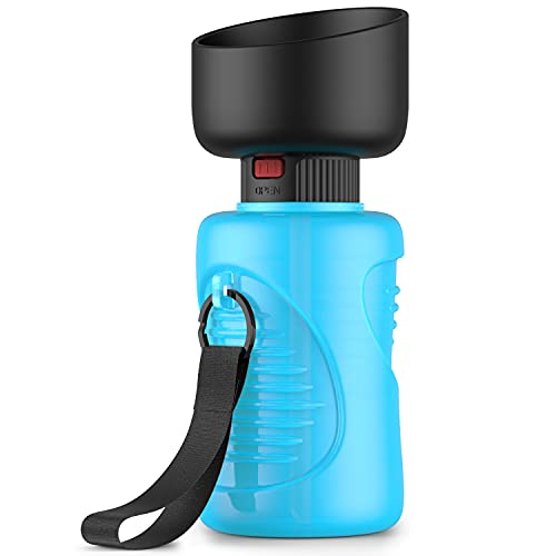 Portable Dog Water Bottle, Foldable Pet Water Bottle for Dog with Water Stop Valve Puppy Travel Walking Hiking Water Bottle, Leak Proof Pet Water Dispenser Lightweight & Convenient for Outdoor(18Oz)