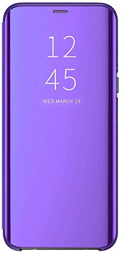 Funda para Samsung Galaxy J4/J4 Plus Suave + Duro Carcasa Espejo Mirror Flip Caso Ultra Delgada Shock Caja del Teléfono Translucent Window View (Morado, Samsung Galaxy J4)