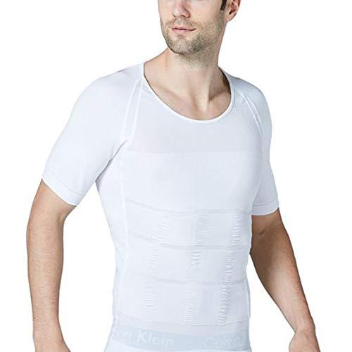 STTLZMC Faja Camiseta Hombre Deportiva Adelgazante Reductora Compresion Elástica de Ropa Interior,Blanco,M