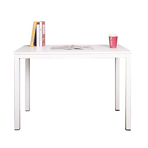 sogesfurniture Computer Desk Office Study Writing Desk Computer PC Laptop Table Workstation Dining Gaming Table for Home Office, 100x60x75cm, White AC3W-100-SF