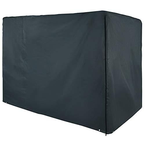 BB Sport Schutzhülle Abdeckhülle Abdeckplane für Hollywoodschaukel, mit 2 Reißverschlüssen und Befestigungskordel, Farbe:Granitgrau (PES), Größe:205 x 165 x 125 cm
