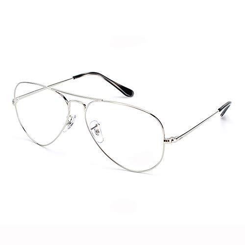 ZXCVASDF Reading Glasses, Metal Frame, Blue Light Blocking, Anti Glare, Anti UV, Anti-Eyestrain Headache, Comfort Lightweight Eyeglasses, Readers for Men and Women,Silver,+1.5