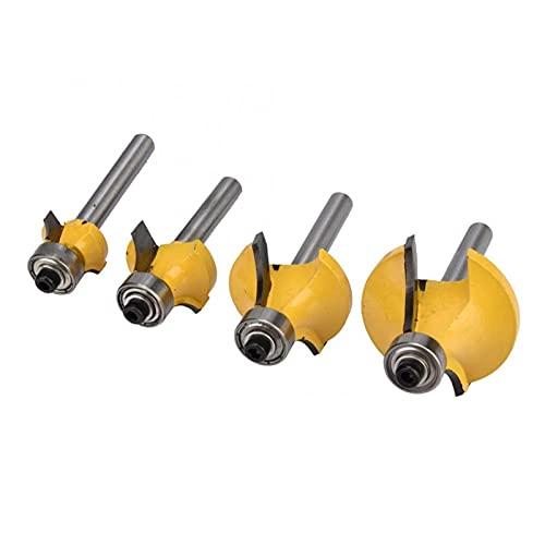 MERCB 4pcs 1/2',3/8',1/4',1/8' Alloy Woodworking Milling Edging Router Bit Set Drill Bit Adapter Set