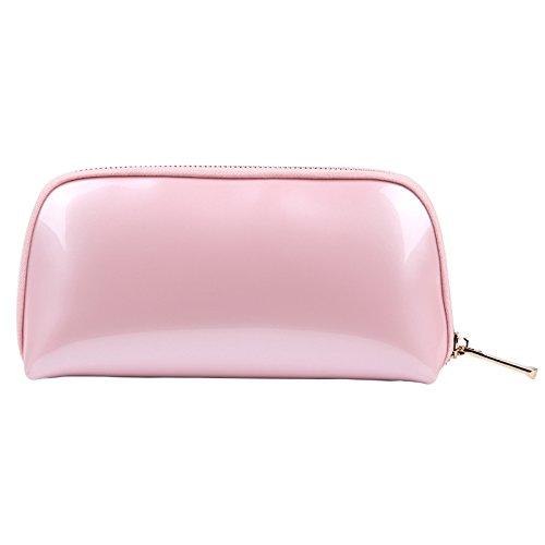 Voyage Sac de Rangement Sac de Lavage Sac cosmétique Femme Main PVC Shell Sac cosmétique 22 * 5 * 11 CM Rose
