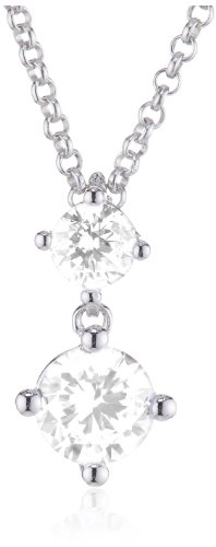 ESPRIT Jewels Damen-Halskette mit Anhänger Glamour Solitaire 925 Sterling Silber ESNL92460A400