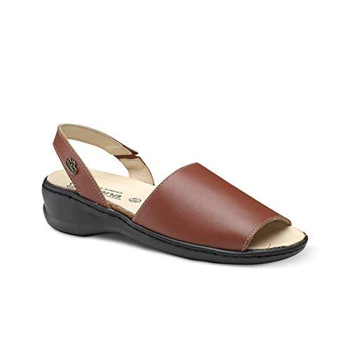Feliz Caminar - Sandalia Piel Antideslizantes y Cómodas para Hombre y Mujer | Frescas para Vestir en Epocas de Calor Verano Primavera | Modelo Menorquina | Talla 37 | Color Cuero