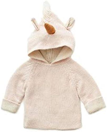 Oeuf Baby Clothes Animal Hoodie-lt. Rosa unicorn-6M