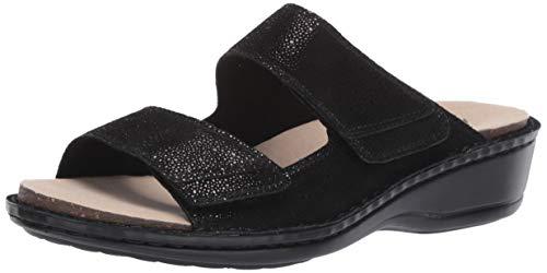 Aravon Women's Cambridge 2 Strap Sandal, Black, 8