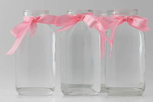 Casa-vetro 12 x pequeños jarrones botellas de cristal C-Deko-TR-cuello ancho incluido lazo rústico Vintage jarrón...