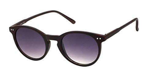 Chic-Net Sonnenbrille Panto Holzmaserung Vintage Retro 400UV Schlüsselloch Steg dunkelrot