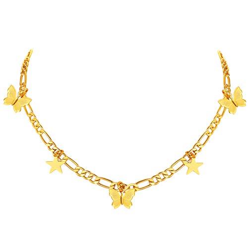 FindChic チョーカー レディース ネックレス フィガロチェーン ゴールド 18金 真鍮 星 蝶々 チャーム付き 大人可愛い おしゃれ アクセサリー 女性 プレゼント