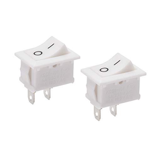 sourcing map Interruptor basculante para mini barcos Interruptor de palanca blanco ON/OFF AC 250V/6A 125V/10A 2uds