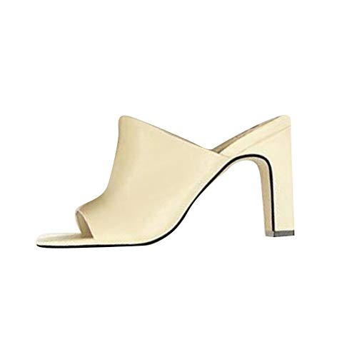 Sandalias de Mujer Bloque Tacón Alto Punta Cuadrada Zapatos de Tacón Alto Peep Toe Elegante Zapatos de Noche Fiesta Color Albaricoque EU 35