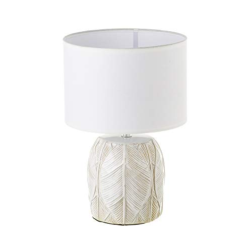 Lámpara de mesita de noche de hojas exótica de cerámica beige de 33 cm - LOLAhome