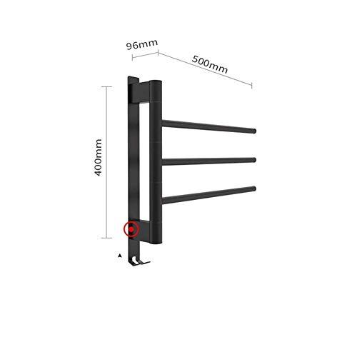 DYB Toallero eléctrico Giratorio, sin Perforaciones, baño Negro, Barra de Toalla con calefacción de Acero Inoxidable 304
