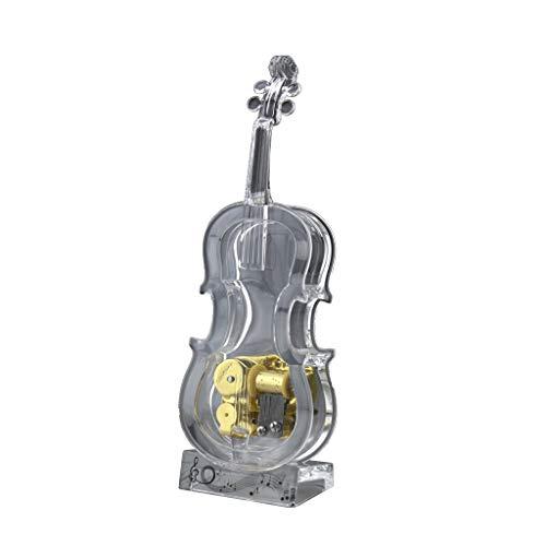 ZAZA Spieluhr Acryl Spieluhr Violine Spieluhr Mechanische Aufziehspieluhr, Spieluhr Spielt Schloss Im Himmel Für Mädchen Premium Spieluhr
