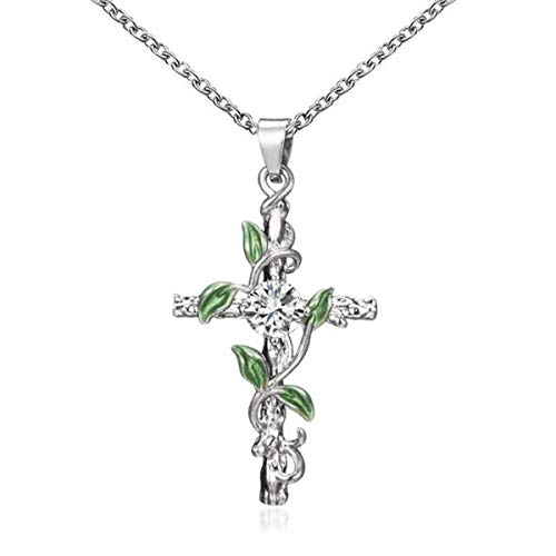 Faruodis Cute Cross Bohemian Pendant Necklace Celtic Crystal Hollow Geometry Chain Jewelry for Women and Girls (Silver B)
