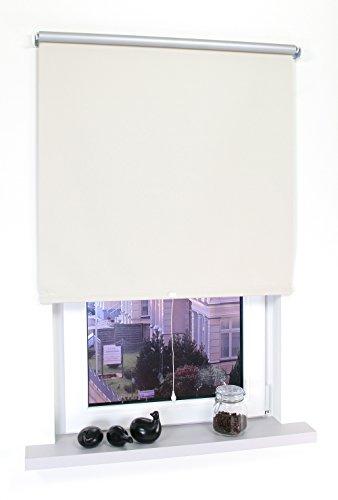 Liedeco® Rollo, Spring-, Schnapprollo / 202 x 180 cm (Breite x Höhe), beige/Thermo-Beschichtung, Verdunkelnd, Blickdicht/viele Farben, Größen und Typen/Breiten 60-200 cm/Variable Montage möglich