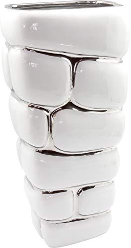 Dreamlight moderna in vaso vaso vaso decorativo in ceramica effetto pietra Bianco/Argento Altezza 30cm