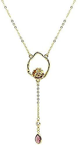 ZGYFJCH Co.,ltd Collar Rosa Delicado Collar Suéter Cadena Mujer Regalo