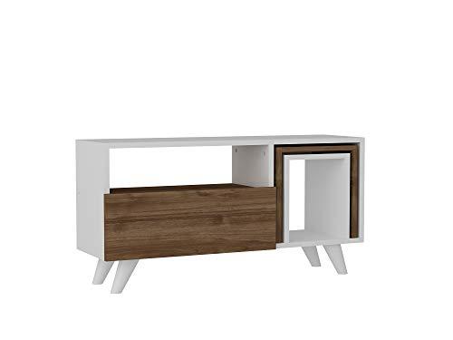 Alphamoebel 2442 Novella K2 TV Board Lowboard Fernsehtisch Weiß Braun, Holz, modern, integrierte Beistelltische, mit integrierten Beistelltischen 2er Set, mit Türen, 90 x 51 x 29,5 cm