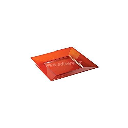 Assiette carrée Rouge Cristal 18 cm par 12-Réutilisable