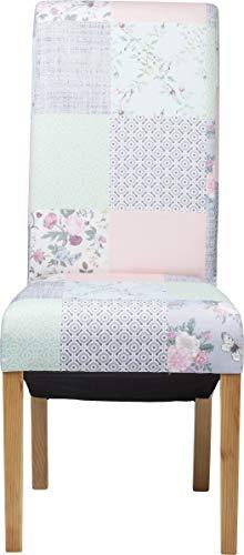 Kare Design Stuhl Patchwork Powder, Polsterstuhl, Blau-Pink, Retro Esszimmerstuhl, Esstuhl, (H/B/T) 106x46x62cm