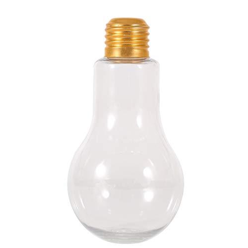 Bombilla de verano creativa Botella de agua Breve Moda Lindo Jugo de leche Taza con forma de bombilla Botella de plástico a prueba de fugas Tazas de fiesta - Transparente