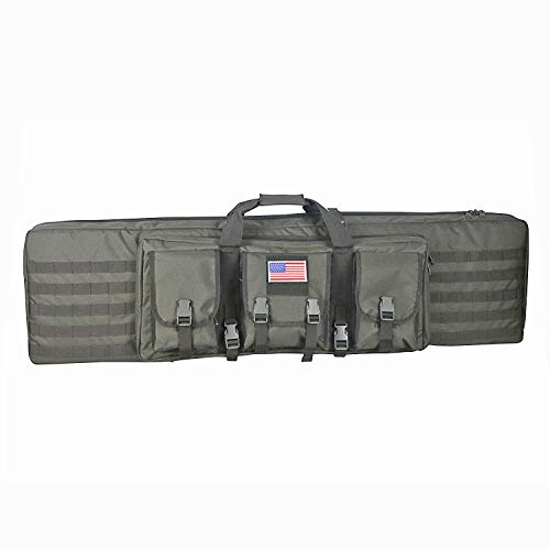 WolfWarriorX Long Rifle Case Tactical Double Rifles Gun Bag Molle 48inch (Grey, 48inch)