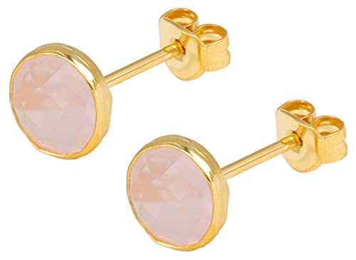 SOFORT LIEFERBAR - SARAH BOSMAN Damen Ohrringe Gold Plate Rose Quartz - Ohrstecker Runde Platte Silber vergoldet eingefasster Rosenquarz - SAB-E26ROSQUAg