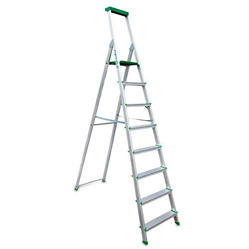 Escalibur | ES.Dom | Escalera de Aluminio | Escalera 8 Peldaños | 257x53x12 cm | Uso Doméstico | Utilizada en Trabajos de Bricolaje | Taco Antideslizante | Máxima Seguridad y Confort