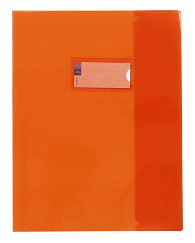 Viquel - Protège cahier 17x22 transparent orange - Porte étiquette sur le devant - Pour cahier 17x22