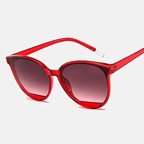 N\C Gafas de sol ovaladas rojas de las señoras de la manera de las gafas de sol con la cara del espejo de las mujeres retro plástico gafas marco