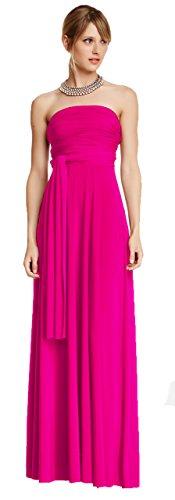 Infinity Kleid inklusive Bandeau Top Brautjungfernkleid Gr. 34-48 viele Farben Wickelkleid lang, 70 Verschiedene Wickelarten Brautkleid, Abendkleid Kleid lang Maxikleid (Pink, 1 (34-42))