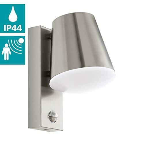 EGLO Außen-Wandlampe Caldiero, 1 flammige Außenleuchte inkl. Bewegungssensor, Sensor-Wandleuchte aus Edelstahl und Kunststofff, Farbe: Silber, weiß, Fassung: E27, IP44