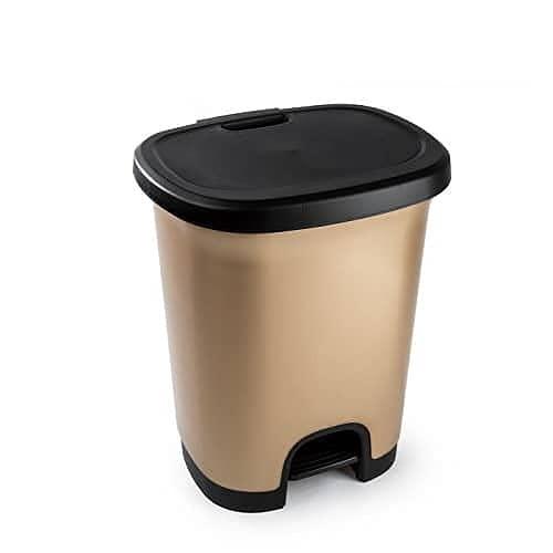 CABLEPELADO Cubo Basura plastico Apertura Pedal Moderno 27 litros Dorado