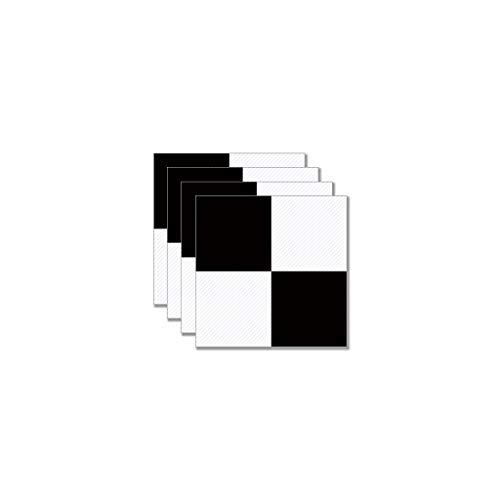Youlin 4 Pièces Autocollants De Plancher en Sergé Antidérapant en Noir Blanc PVC Décoration Murale De Sol