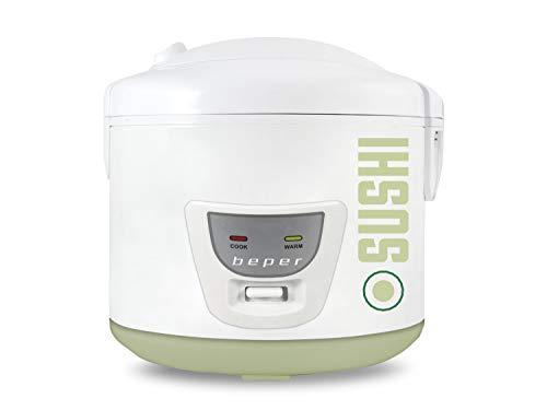 Beper BC.100 Olla Arrocera y Vaporera 4L 700W, cuchara o para arroz y taza medidora sumministrada, recepiente de aluminio, mantenimento calientes, canasta para cocinar al vapor, Blanca y Verde
