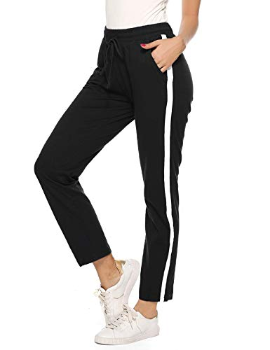 Hawiton Damen Sporthose Streifen Freizeithose Jogging Hose Traininghose Fitness High Waist Lang Baumwolle Schwarz L