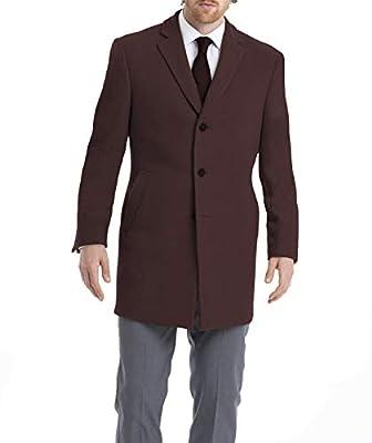 Calvin Klein Men's Slim Fit Wool Blend Overcoat Jacket, Burgundy, 50R from Calvin Klein Top Coats (Peerless)
