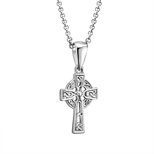 "Sterling Silver Small Celtic Cross Necklace Hallmarked at Irish Assay Office in Dublin Castle 18"" with 2"" Extension Chain & Easy to Use Lobster Clasp Made in Ireland"