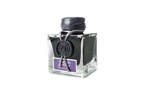 J.Herbin 15579JT Tintenflakon Améthyste l'Oural 1798 (50 ml, mit silbernem Glitzer) violett