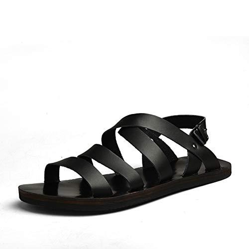 Männer Gladiator Sandalen Anti Slip Leder Schnalle Weiche Sohlen Peep Toe Casual Wasser Schuhe Männlichen Sommer Flache Verschleißfeste Strand Sandale