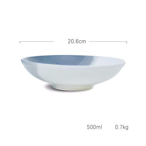 Bol en céramique Ramen Bol Bol à soupe Bol en porcelaine Bol à pâtes Bol rond plat profond Salade de fruits Bol plat Bol
