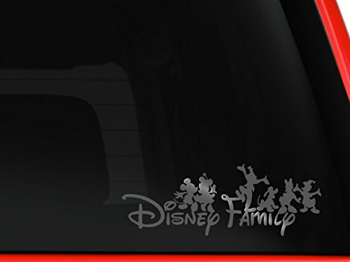 Disney family Mickey and friends car truck SUV mac book laptop tool box wall window decal sticker (6', silver)