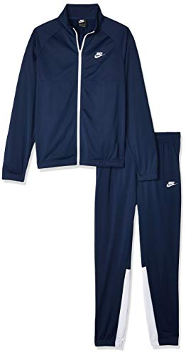 Nike M NSW Ce TRK Suit PK, Tuta Uomo, Midnight Navy/Midnight Navy/White/White, L