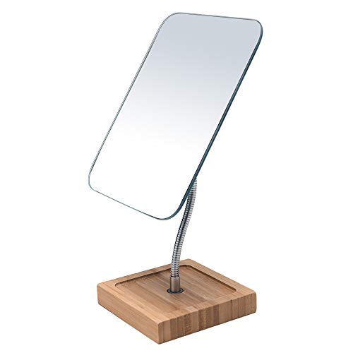 "YEAKE Flexible Gooseneck Bamboo Vanity Makeup Mirror,360°Rotation 8"" Large Frameless Vanity Mirror Folding Portable Table Desk Mirror with Stand Bathroom Shaving Make Up Mirrors Rectangle"