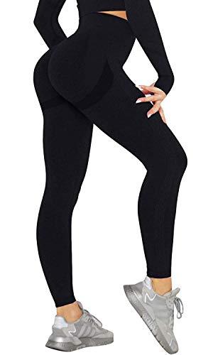 CheChury Moda Mallas Pantalones Deportivos Leggings Mujer Cintura Alta Push Up Pantalones de Yoga Sin Costuras Elásticos y Transpirables Fitness Estiramiento Leggins Deportivos