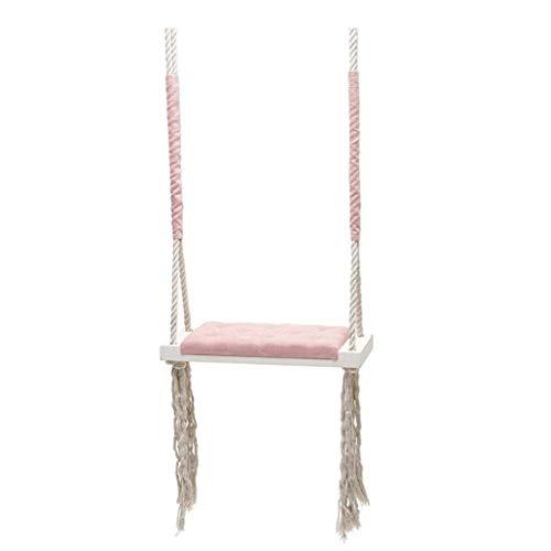 AYHa Swing Décoration, Enfants Chambre à coucher Ménage éponge Tapis multifonctions Balancez Tassel en bois massif Creative Balançoire,Rose