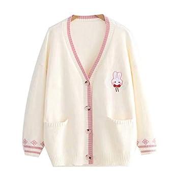 Embroidery Knit Sweater Cardigan Korean Chic Loose Female Knitshirt V Neck Cardigan Jacket Women Beige One Size